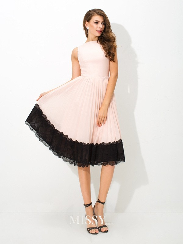 Princess High Neck Sleeveless Lace Tea-Length Chiffon Cocktail Dresses