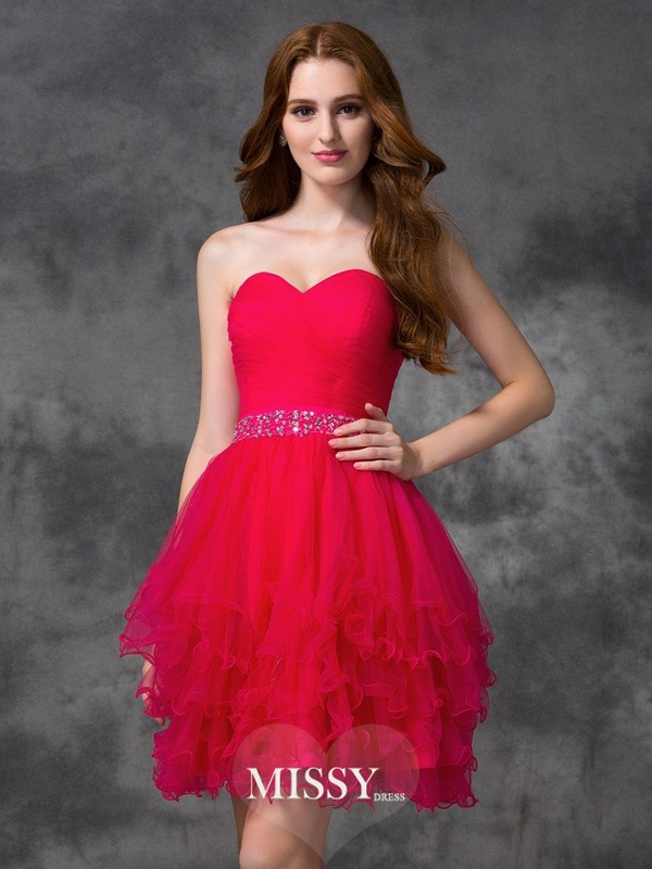 A-line/Princess Sweetheart Beading Short/Mini Satin Cocktail Dresses