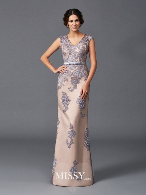 Column Applique Sleeveless Straps Floor-Length Satin Dresses