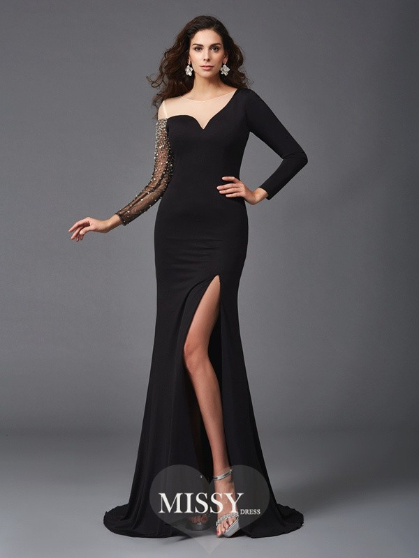 Sheath/Column Scoop 3/4 Sleeves Beading Sweep Spandex Dresses