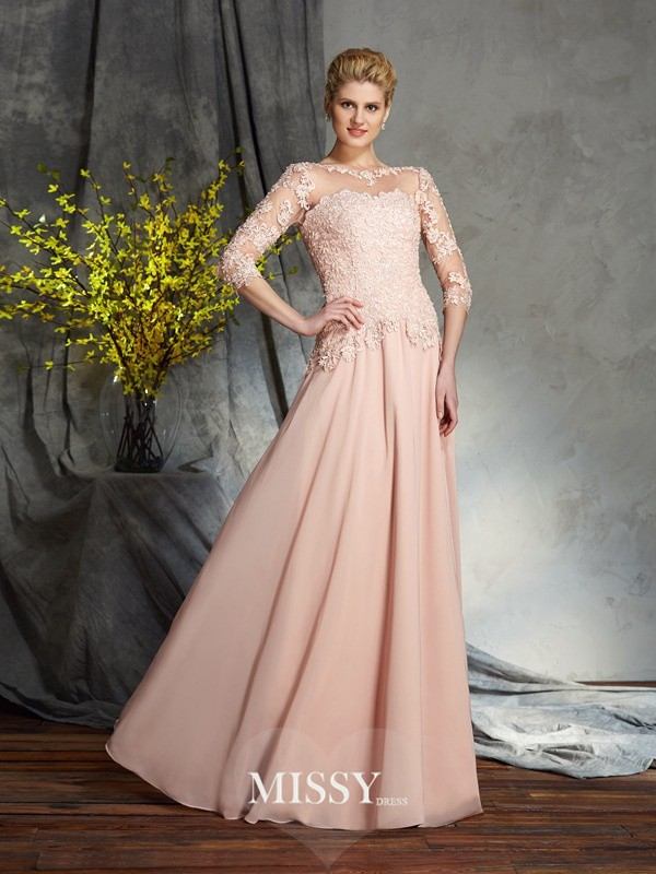 A-Line/Princess Scoop 3/4 Sleeves Applique Chiffon Floor-Length Mother of the Groom Dresses