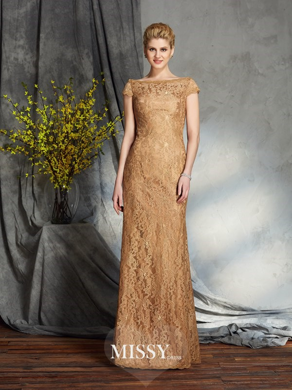 Sheath/Column Bateau Short Sleeves Lace Floor-Length Mother of the Groom Dresses