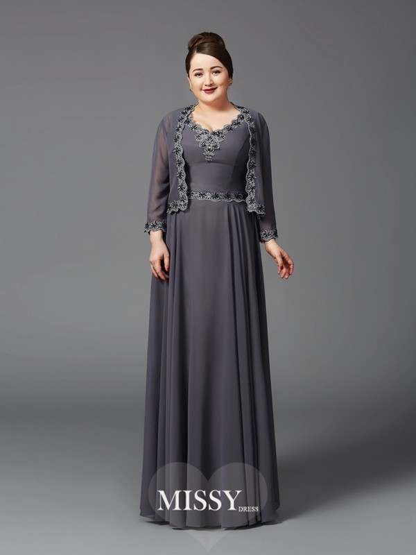 A-Line/Princess Straps Lace Sleeveless Floor-Length Chiffon Full Size Mother of the Bride Dresses