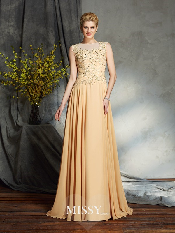 A-Line/Princess Scoop Sleeveless Chiffon Floor-Length Mother of the Groom Dresses