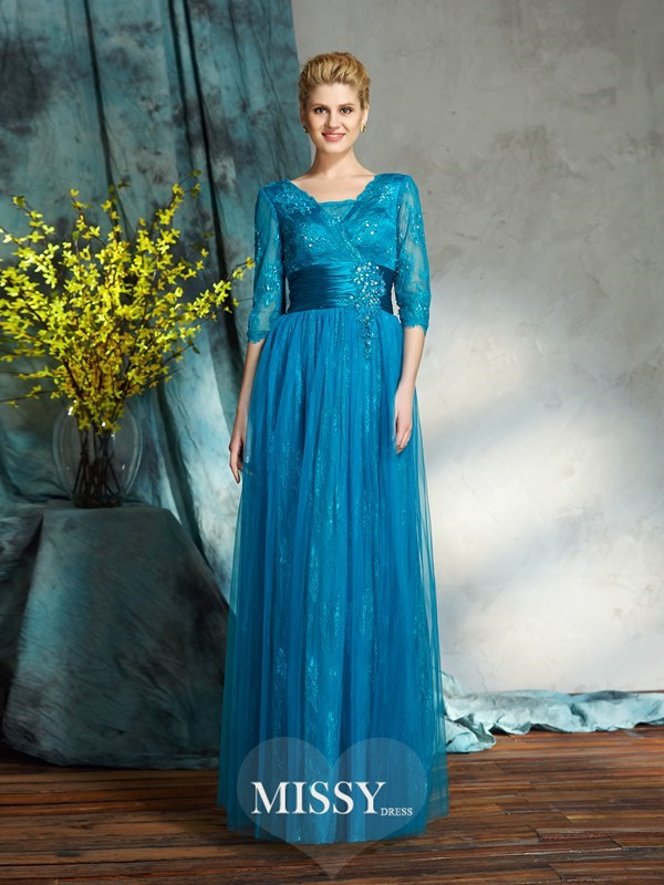 A-Line/Princess V-neck 3/4 Sleeves Net Floor-Length Mother of the Groom Dresses