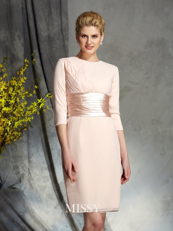 Sheath/Column Scoop 3/4 Sleeves Chiffon Short/Mini Mother of the Groom Dress