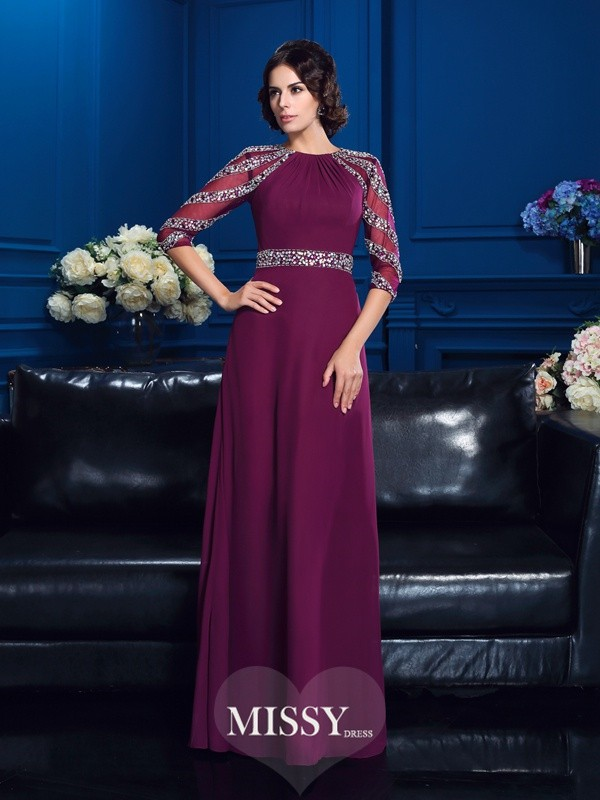 A-Line/Princess Scoop 3/4 Sleeves Chiffon Beading Floor-Length Mother Dresses