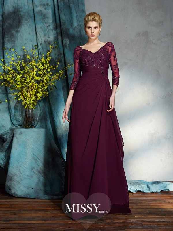 A-Line/Princess V-neck 3/4 Sleeves Floor-Length Chiffon Mother of the Groom Dress