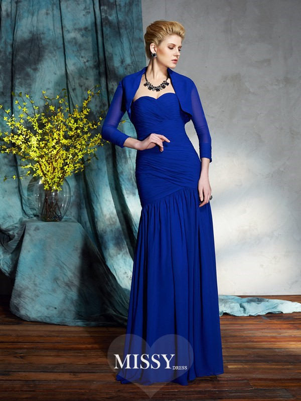 Sheath/Column Sweetheart Sleeveless Floor-Length Chiffon Mother of the Groom Dress