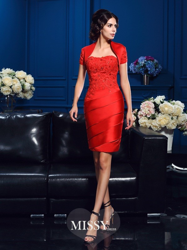 Sheath/Column Sweetheart Sleeveless Short/Mini Satin Mother Dresses
