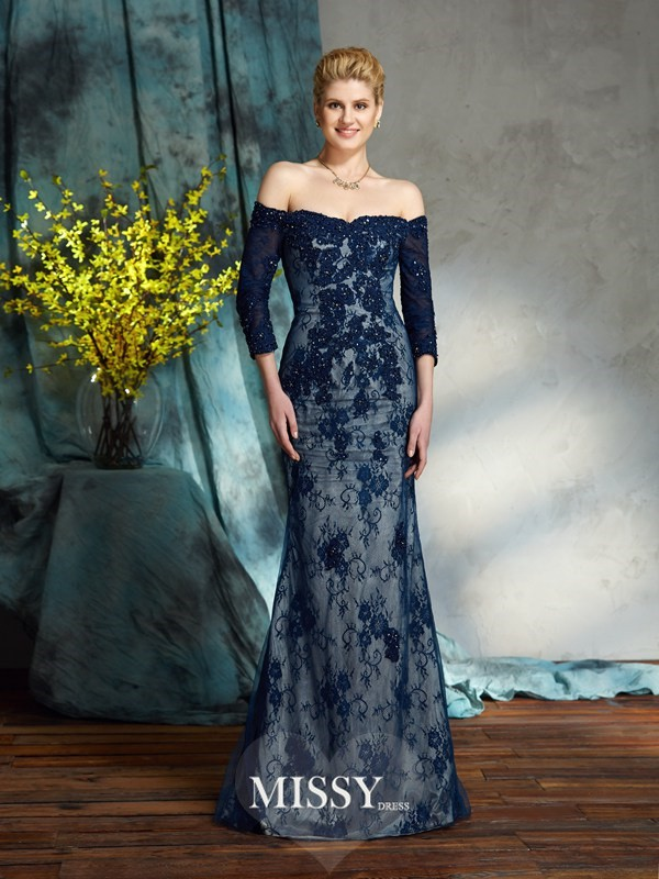 Trumpet/Mermaid Off-the-Shoulder 3/4 Sleeves Floor-Length Lace Mother of the Groom Dress