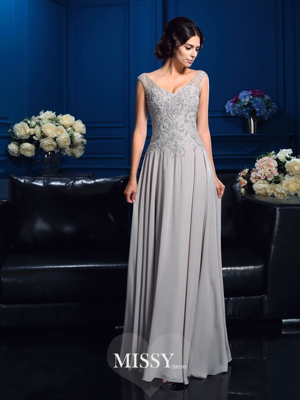 A-Line/Princess V-neck Sleeveless Beading Chiffon Floor-Length Mother Dresses