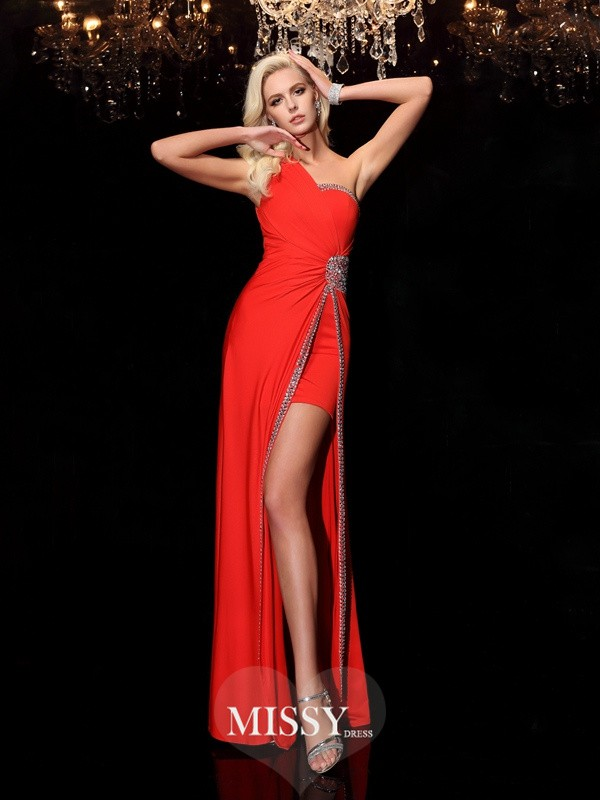 Sheath/Column One-Shoulder Sleeveless Floor-Length Spandex Dresses