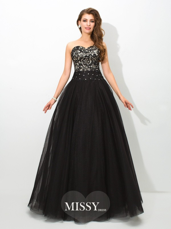 Ball Gown Sweetheart Lace Floor-Length Net Dresses