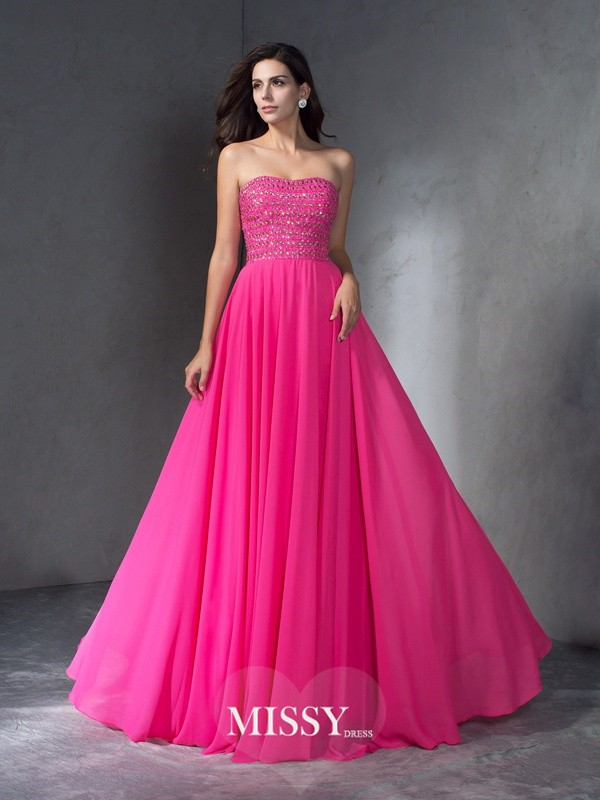 A-Line/Princess Sweetheart Sleeveless Beading Chiffon Sweep Dress
