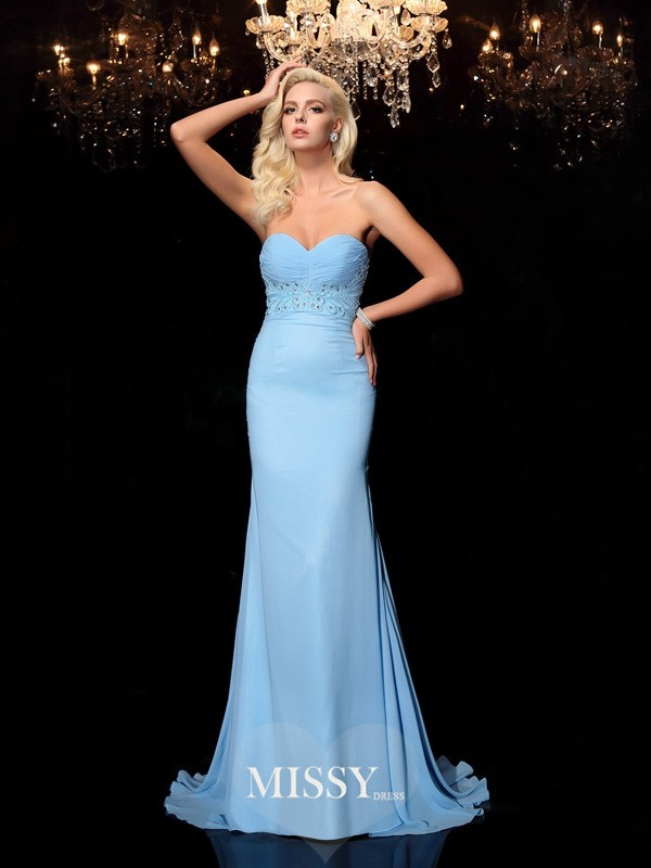 Trumpet/Mermaid Sweetheart Sleeveless Rhinestone Sweep/Brush Train Chiffon Dresses