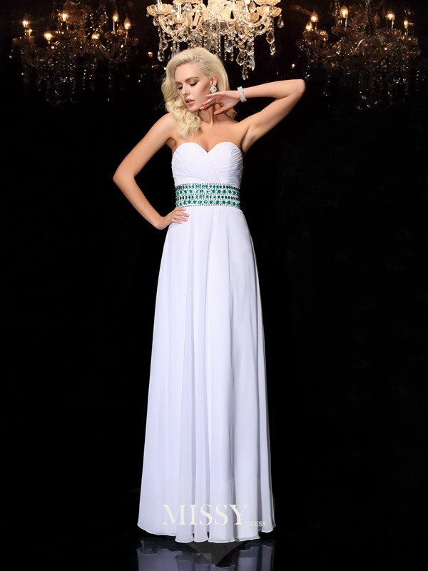 A-line/Princess Sweetheart Sleeveless Floor-Length Rhinestone Chiffon Dresses