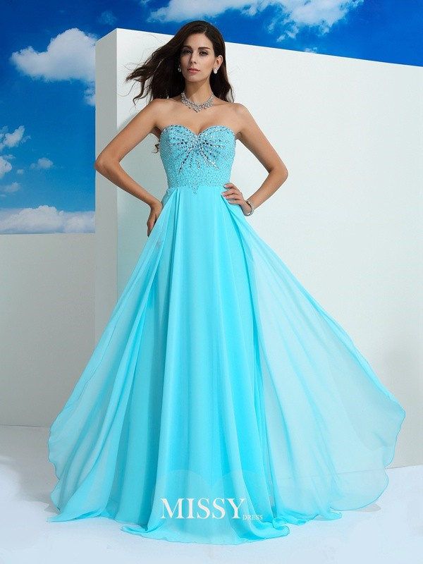Princess Beading Sleeveless Floor-Length Chiffon Dress