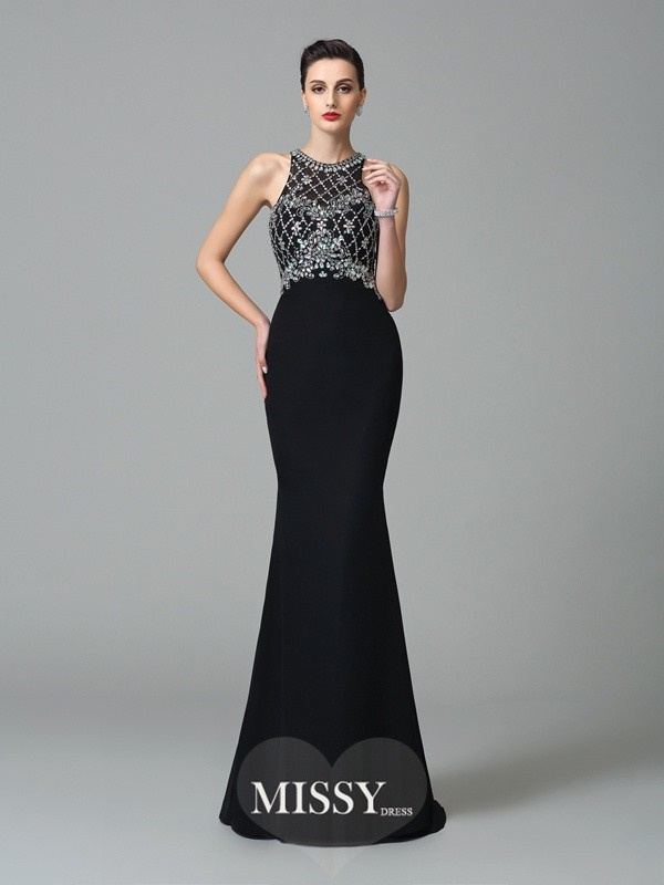 Trumpet/Mermaid Jewel Sleeveless Rhinestone Brush Train Chiffon Dresses