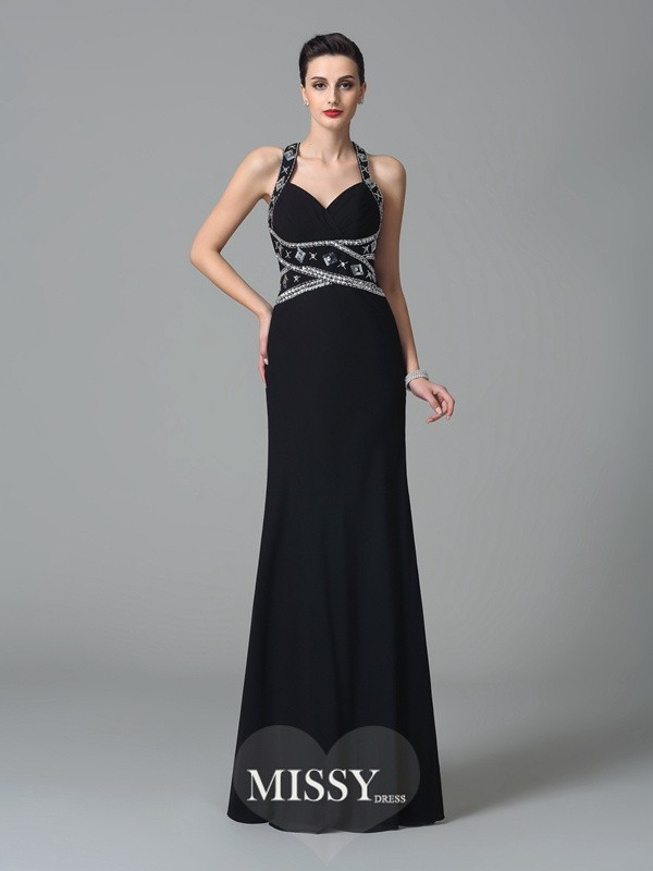Sheath/Column Straps Sleeveless Floor-Length Chiffon Dresses
