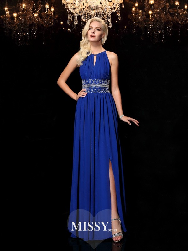 A-line Jewel Beading Sleeveless Floor-Length Chiffon Dresses