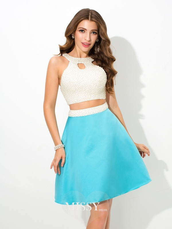 A-Line/Princess Jersey Sleeveless Beading Short Satin Two Piece Dresses