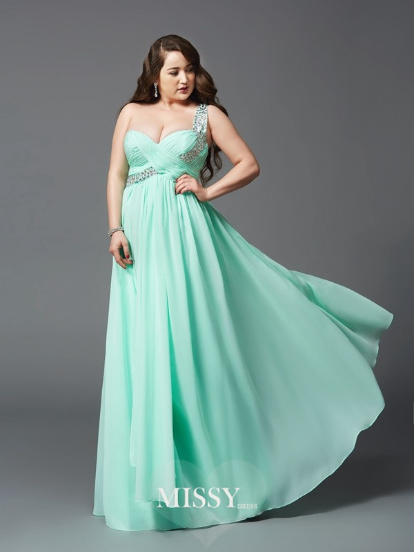 A-Line One-Shoulder Rhinestone Floor-Length Sleeveless Chiffon Plus Size Dresses