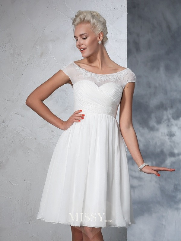 A-Line/Princess Short Sleeves Sheer Neck Chiffon Knee-Length Ruched Bridal Wedding Dresses