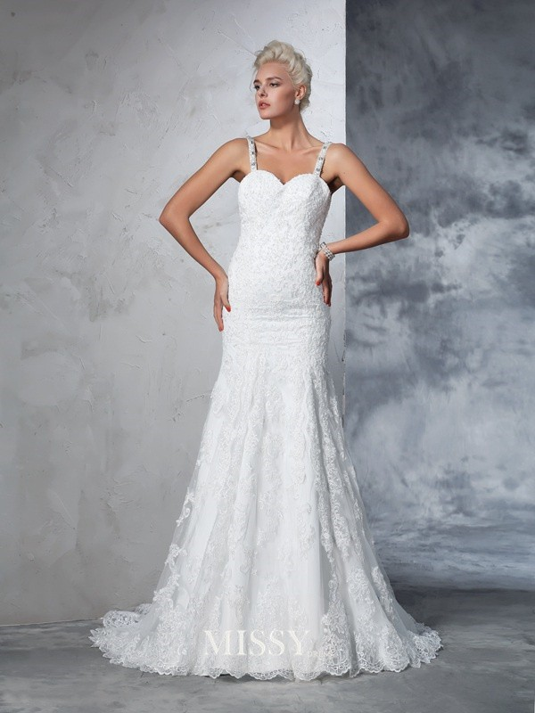 Trumpet/Mermaid Spaghetti Straps Sleeveless Lace Chapel Train Bridal Wedding Dresses