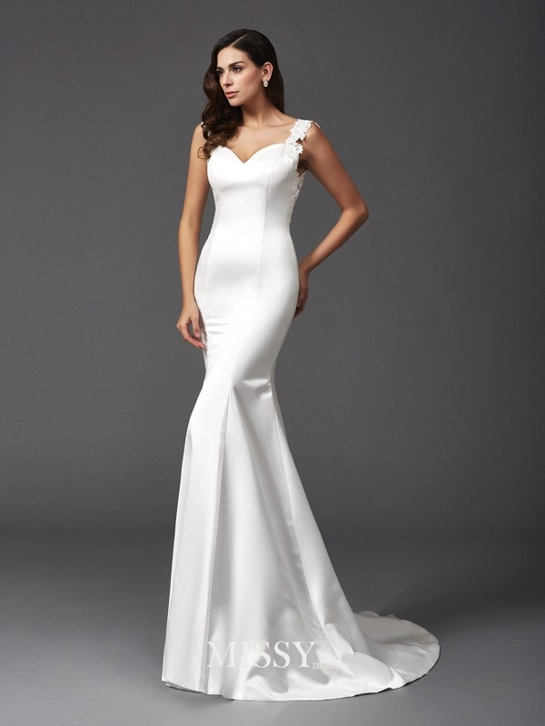 Trumpet/Mermaid Straps Sleeveless Brush Train Satin Wedding Dresses