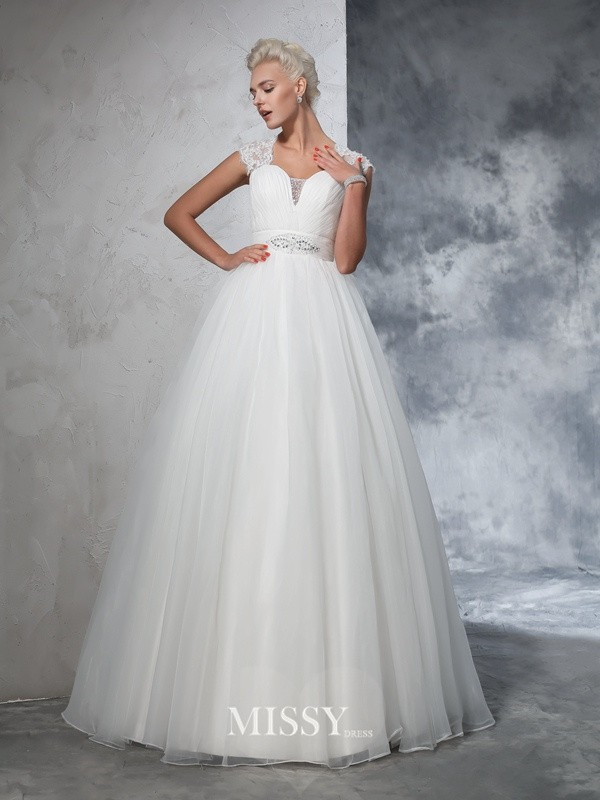 Ball Gown Sleeveless Sweetheart Tulle Ruched Sweep/Brush Train Bridal Wedding Dresses