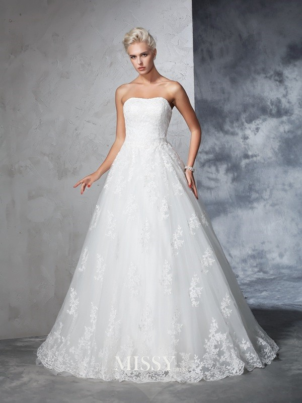 Ball Gown Sleeveless Lace Strapless Court Train Bridal Wedding Dresses