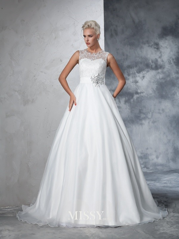 Ball Gown Sleeveless Sheer Neck Net Lace Chapel Train Bridal Wedding Dresses