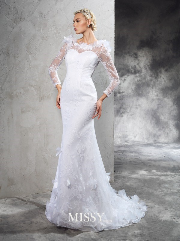 Sheath/Column Sheer Neck Long Sleeves Court Train Satin Wedding Dresses
