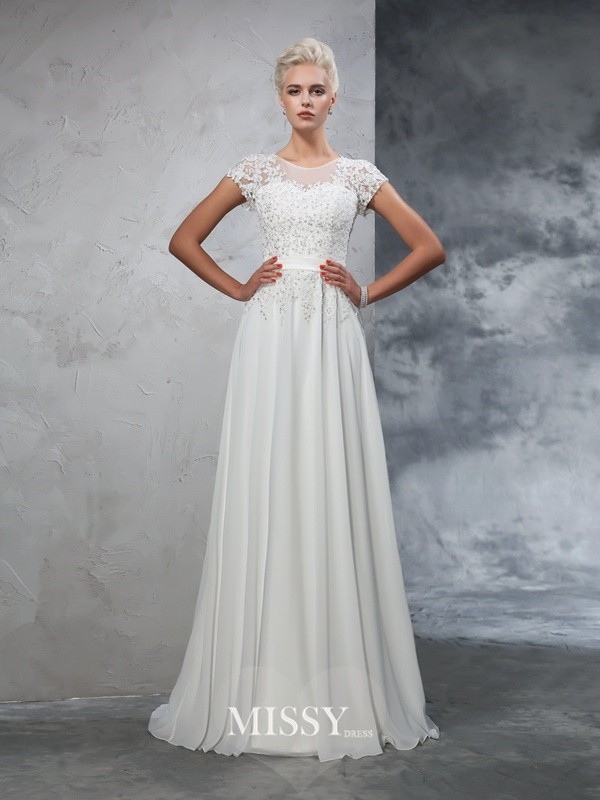 A-Line/Princess Short Sleeves Sheer Neck Chiffon Applique Sweep/Brush Train Bridal Wedding Dresses