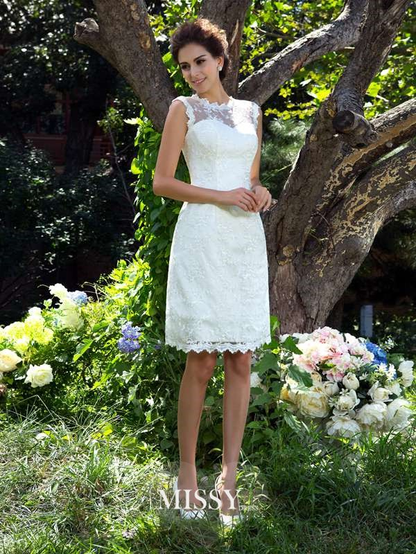 A-Line/Princess Sheer Neck Sleeveless Satin Knee-Length Applique Wedding Dress