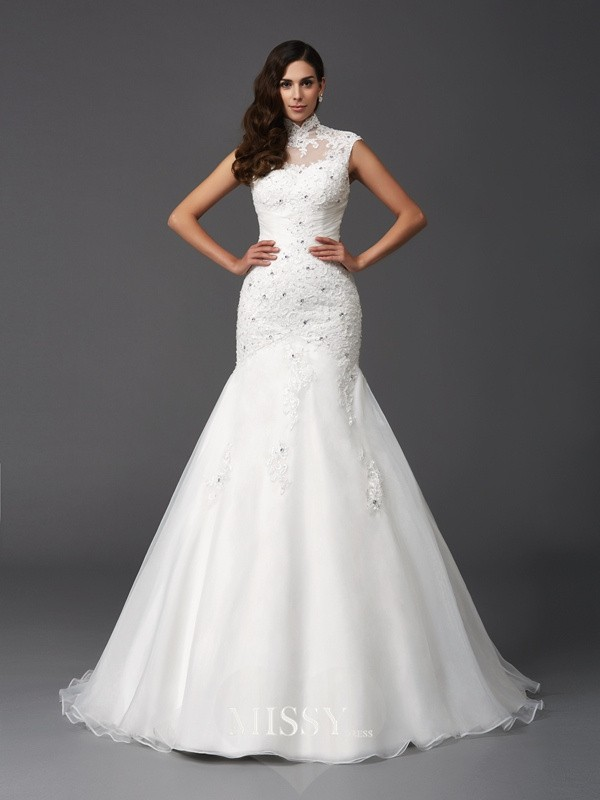 Trumpet/Mermaid High Neck Sleeveless Beading Sweep/Brush Train Organza Wedding Dresses