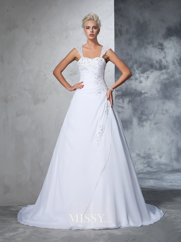 Ball Gown Sleeveless Straps Chiffon Applique Court Train Bridal Wedding Dresses