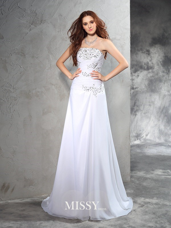 Column Strapless Sleeveless Beading Sweep/Brush Train Chiffon Wedding Dresses