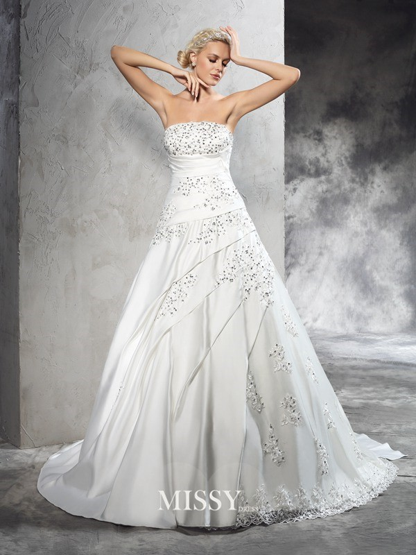 Ball Gown Strapless Sleeveless Court Train Satin Bridal Wedding Dresses
