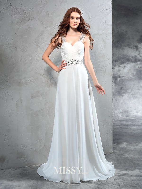 Princess Sweetheart Sleeveless Pleats Sweep/Brush Train Chiffon Wedding Dresses