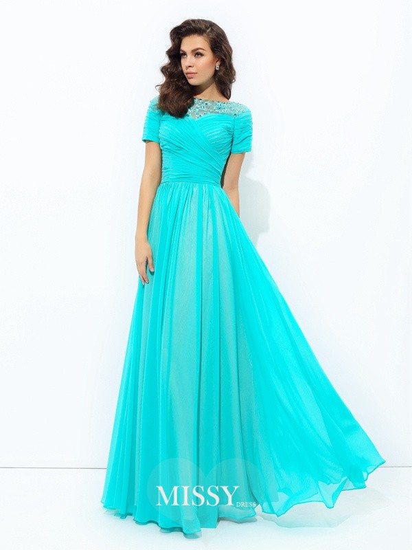 A-Line/Princess Bateau Short Sleeves Lace Floor-Length Chiffon Dress