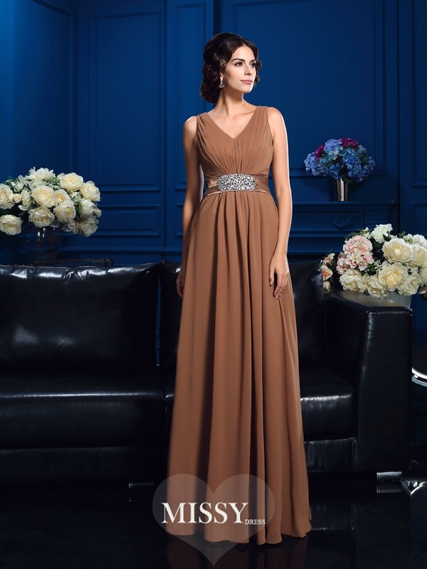 A-Line/Princess V-neck Sleeveless Chiffon Floor-Length Mother Dresses
