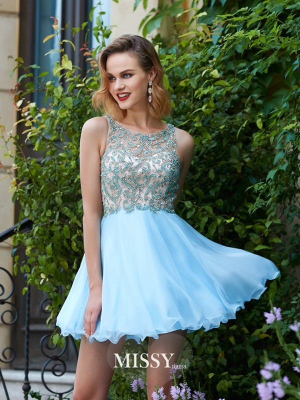 A-Line/Princess Scoop Chiffon Beading Short/Mini Dresses