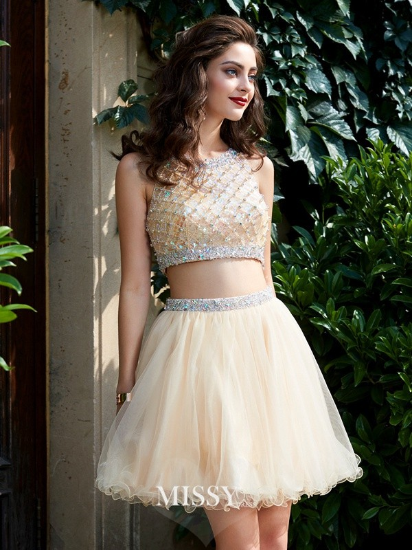 A-Line/Princess Scoop Net Beading Short/Mini Two Piece Homecoming Dresses