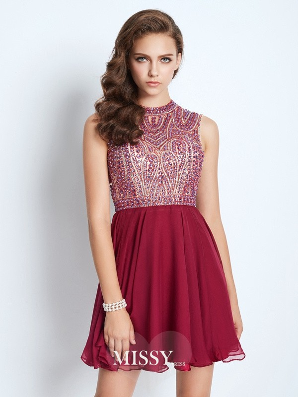 A-Line/Princess Jewel Chiffon Beading Short/Mini Dresses