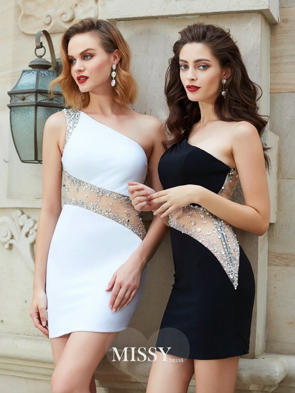 Sheath/Column One-Shoulder Beading Short/Mini Net Dresses