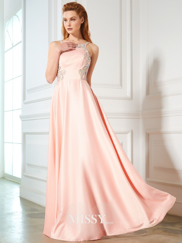 A-Line/Princess Scoop Beading Sleeveless Satin Floor-Length Dresses
