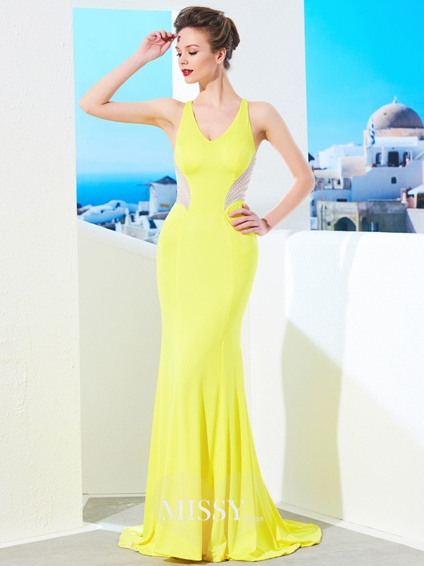 Trumpet/Mermaid V-neck Sleeveless Sweep/Brush Train Beading Spandex Dresses