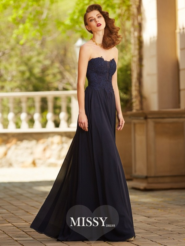 A-Line/Princess Sweetheart Sleeveless Floor-Length Applique Chiffon Dresses